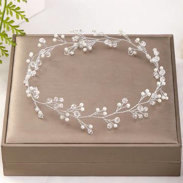 Wedding Headdress Pearl Crystal Silver
