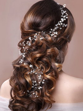 Wedding Hairpiece Pearl Crystal Silver Floral