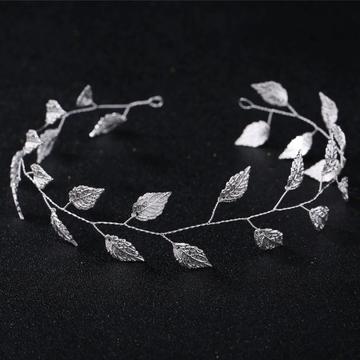 Wedding Headband Leaf Silver 34cm