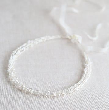Wedding Headband Pearl Silver