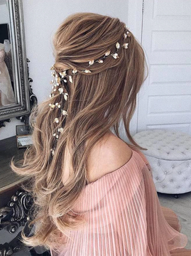 Wedding Hairpiece Rose Gold Leaf Pearl 60cm