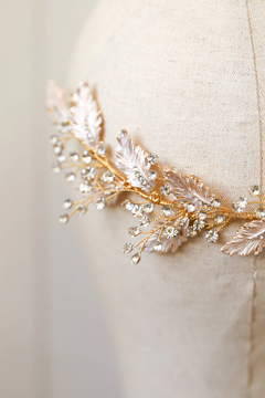 Wedding Headband Vintage Gold Leaf 23cm