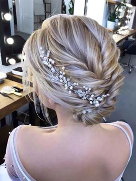 Wedding Headband Pearl Gold