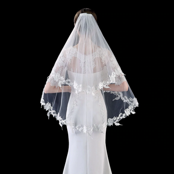 Short Two Layer Bridal Veil with Appliqued Floral Lace Edge