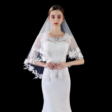 Two Layer Bridal Veil with Appliqued Floral Lace Edge