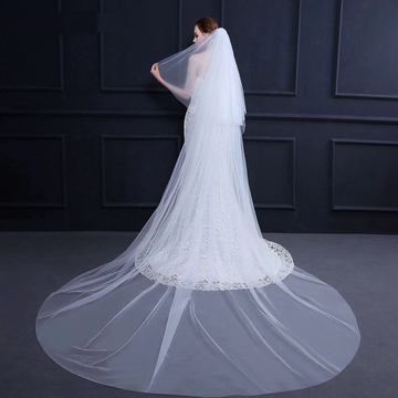 Simple Double Layer 3m Floor Length Cathedral Wedding Veil