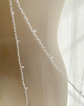 Long Two Tier Crystal Beaded Edge Veil