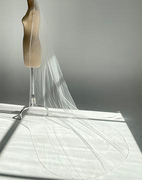 Guipure Beaded Trim Veil