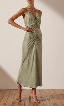 Mia Halter Ruched Midi Dress - Sage size 6