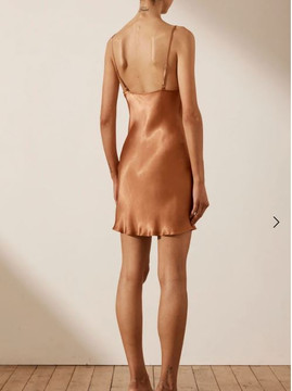 GALA BIAS MINI SLIP DRESS - Copper in size 12