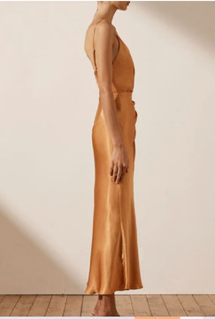 GALA Draped Midi DRESS - Golden Oak By Shona Joy