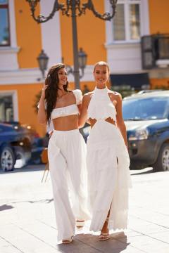 KALIA DRESS - WHITE EYELET A-LINE MAXI WITH HIGH NECK & CUT-OUT WAIST