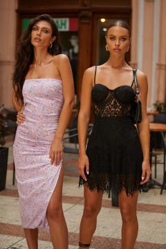 Kalea Dress - Black Lace Mini Dress With Bustier & Open Back
