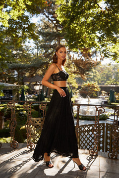 Nirvana Set  - Black Lace Set with Cropped Bustier & High Waisted Skirt