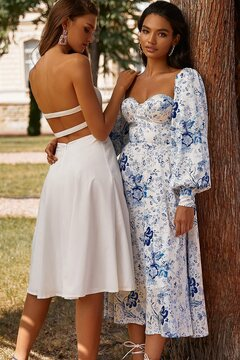 Xena Dress - White Strapless Midi Dress with Slit, Bustier & Strappy Back