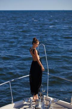 MAURA - BLACK LACE MAXI DRESS WITH CUT-OUT WAIST & CRISS CROSS BACK