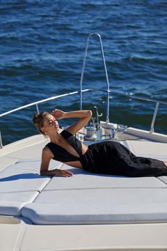 Maura Dress - Black Lace Maxi Dress with Cut-out Waist & Criss Cross Back