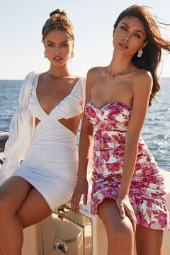 LUANDA DRESS - RUCHED FLORAL STRAPLESS MINI DRESS WITH BUSTIER & FRILL