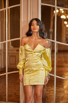 ZEHRA DRESS - YELLOW SATIN TEXTURED MINI WITH LONG OFF-SHOULDER SLEEVES
