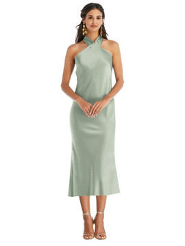 Draped Twist Halter Tie-Back Midi Dress - Paloma available in 22 colors