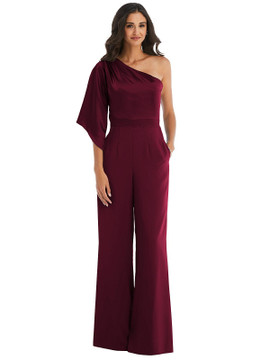One-Shoulder Bell Sleeve Jumpsuit with Pockets style 6839