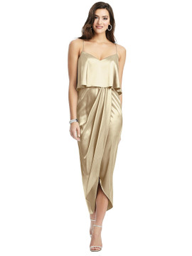Popover Bodice Midi Dress with Draped Tulip Skirt style 6830 available in 37 colors in Banana