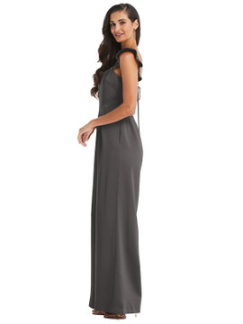 Ruffled Sleeve Tie-Back Jumpsuit with Pocket