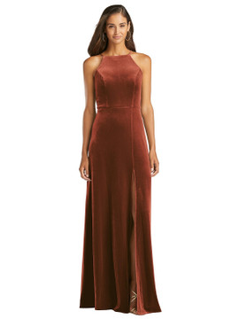 Velvet Halter Maxi Dress with Front Slit - Harper by Lovely LB021 in 8 colors