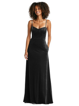 Bustier Velvet Maxi Dress with Pockets by After Six 1534 in 8 colors