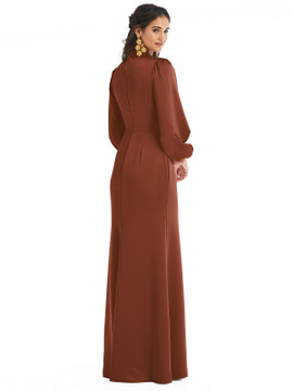 High Collar Puff Sleeve Trumpet Gown - Darby by Lovely LB023 in 22 colors