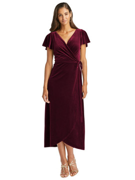 Flutter Sleeve Velvet Midi Wrap Dress with Pockets by After Six 1539 in 8 colors