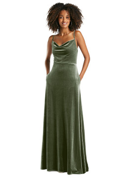 Cowl-Neck Velvet Maxi Dress with Pockets by After Six 1541 in 8 colors