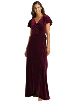 Flutter Sleeve Velvet Wrap Maxi Dress with Pockets by After Six 1538 in 8 colors