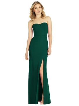 Strapless Chiffon Trumpet Gown with Front Slit by After Six 6803 in 8 colors in hunter