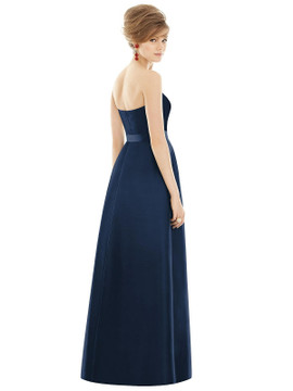 Strapless Pleated Skirt Maxi Dress with Pockets by Alfred Sung D755 in 36 colors