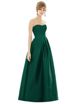 Strapless Pleated Skirt Maxi Dress with Pockets by Alfred Sung D755 in 36 colors in hunter
