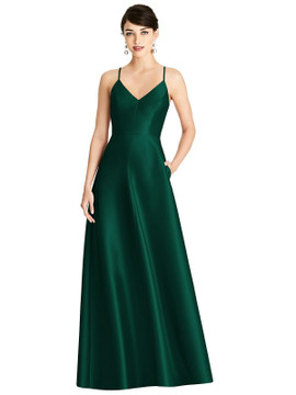 V-Neck Full Skirt Satin Maxi Dress By Alfred Sung D750 in 36 colors