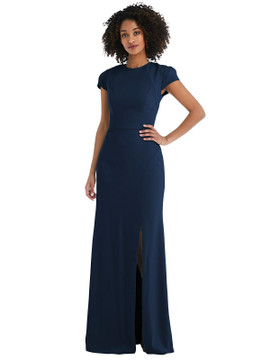 Puff Cap Sleeve Cutout Tie-Back Trumpet Gown by  After Six 6837 available in 34 colors