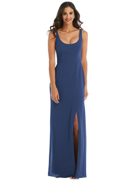 Scoop Neck Open-Back Trumpet Gown by  After Six 1550 available in 34 colors