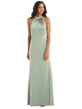 High-Neck Open-Back Maxi Dress with Scarf Tie By After Six 6834 in 30 colors
