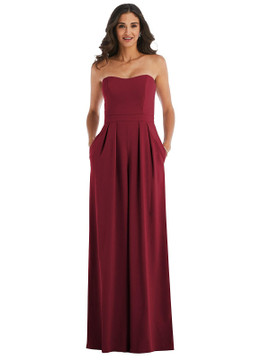 Strapless Pleated Front Jumpsuit with Pockets By After Six 6833 in 30 colors