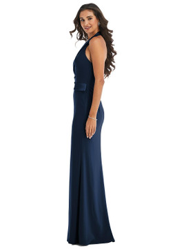 Halter Tuxedo Maxi Dress with Front Slit by  After Six 6842 available in 17 colors