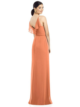 Ruffled Back Chiffon Dress with Jeweled Sash by  After Six 1524 in 64 colors in sweet melon