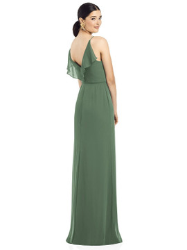 Ruffled Back Chiffon Dress with Jeweled Sash by  After Six 1524 in 64 colors in vineyard green