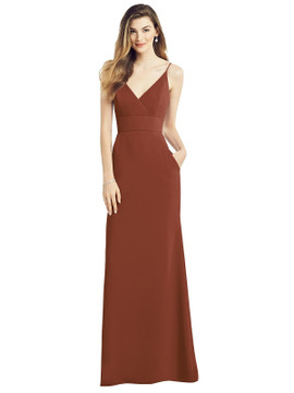 V-Back Spaghetti Strap Maxi Dress with Pockets by  After Six 6824 in 34 colors in Auburn Moon