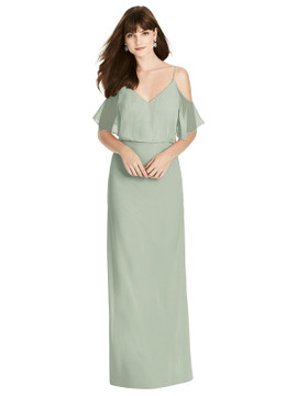 Ruffled Cold-Shoulder Blouson Maxi Dress by  After Six 6781 in 64 colors in willow