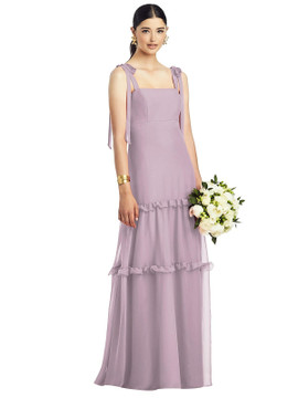 Bowed Strap Crinkle Chiffon Gown with Tiered Ruffle Skirt by After Six 1529 in 29 colors