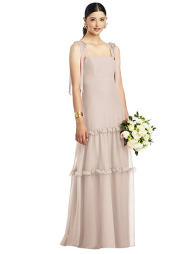 Bowed Strap Crinkle Chiffon Gown with Tiered Ruffle Skirt by After Six 1529 in 29 colors in cameo
