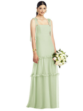 Bowed Strap Crinkle Chiffon Gown with Tiered Ruffle Skirt by After Six 1529 in 29 colors in Limeade