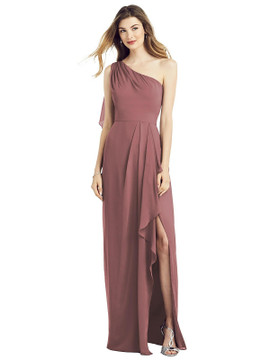 One-Shoulder Chiffon Dress with Draped Front Slit by After Six 6819 in 64 colors
